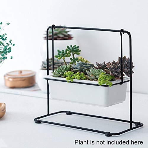 Best Quality - Flower Pots & Planters - White Ceramic Planter Modern Mini Geometric Flower Pot Indoor Outdoor Succulents Container with Black Iron Arched Holder Rack - by MANGO. - -