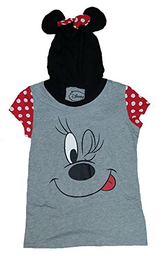 Minnie Mouse Costumes Shirt (Halloween Juniors Disney Minnie Mouse Costume Hoodie Graphic T-Shirt - Large)