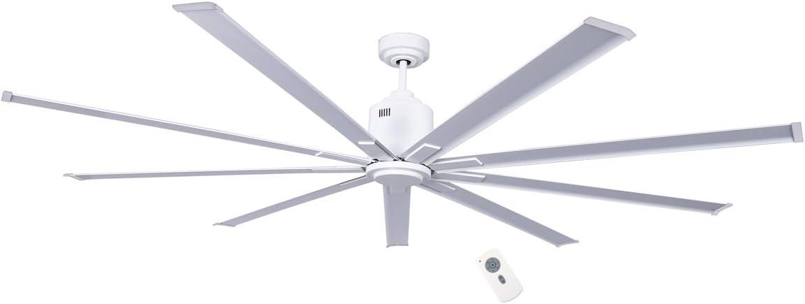 Casafan Ventilador de techo Big smooth ECO WE Ø 224 cm, DC motor, 6 velocidades, 9 aspas de aluminio blanco lacado