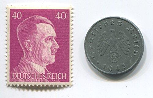 Rare Nazi Swastika 10 Reichspfennig German Coin World War Two WW2 with Jumbo Purple Hitler Head Stamp - Stamp Coin Mnh
