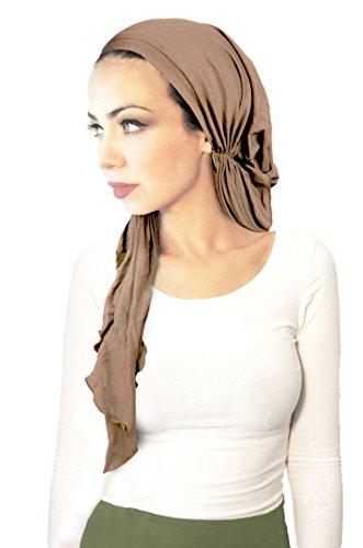 Pre-Tied Head-Scarf Versatile Ties Bandana Tichel Headwear Cotton Turban Wrap in 26 Colors! (Clay Long - 178) (Lightweight Headwrap Cotton)