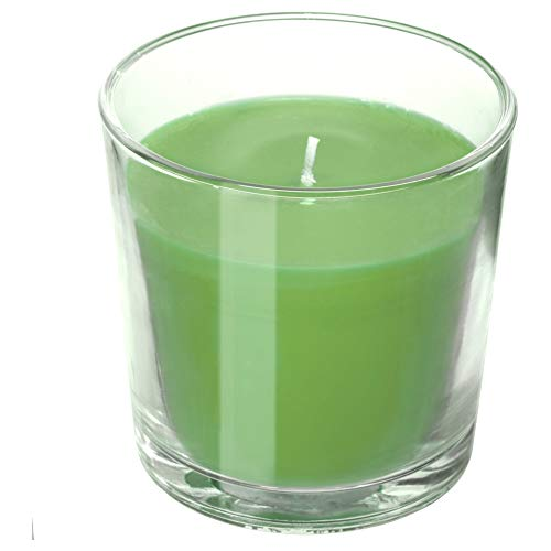 (IKEA SINNLIG Scented Candle in Glass, Apple and Pear, Green)