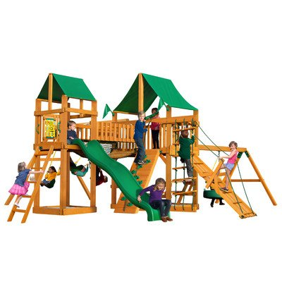 Gorillaplay Sets Home Backyard Playground Pioneer Peak Swing Set with Amber Posts and Deluxe Green Vinyl Canopy