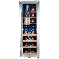 AKDY 16 Bottle Touch Panel Dual Zone Chrome Wire Wood Shelves Freestanding Compressor Key Lock Black Silver Wine Cooler