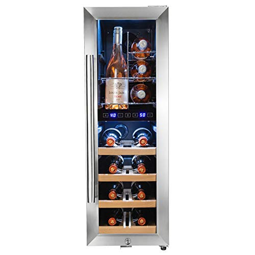 """AKDY 34.75"""" Freestanding Compressor Wine Cooler Black Silver - Stainless Steel - Double Paned Glass - 16 Bottle - Touch Control Panel - Dual Temperature Zone - Chrome Wire Wood Shelves"""
