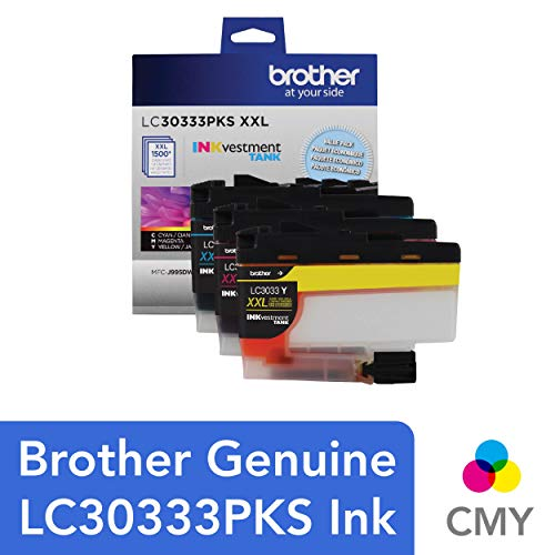 Brother Genuine LC30333PKS 3-Pack, Super High-yield Color INKvestment Tank Ink Cartridges; Includes 1 Cartridge each of Cyan, Magenta & Yellow, Page Yield Up to 1,500 Pages/Cartridge, LC3033 1500 Printer Inkjet Cartridges