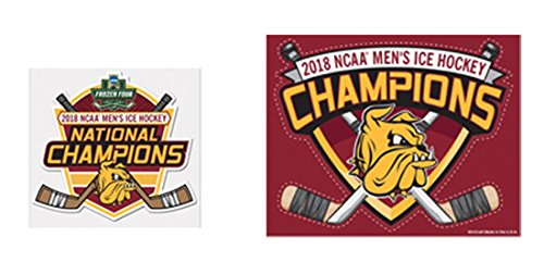 WinCraft Minnesota Duluth Bulldogs 2018 NCAA Men's Ice Hockey Champions Decal Gift Set 1 small outdoor decal and 1 indoor multi use - Div Decal