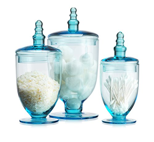 Elegant Blue Set of 3 Glass Apothecary Jars with Lid - High Glass Canister - Home Decor & Party Wedding Centerpiece Terra Collection (3 Piece Set) Designer Decorative. by HC