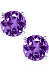 Sterling Silver Round Amethyst Earrings 6mm