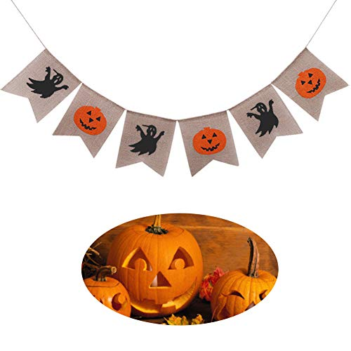 BUSOHA Halloween Banner Decorations, Happy Halloween Ghost Pumpkin Banner Rustic Burlap Wall Décor for Home/School/Office Party Decorations