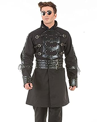 Men's Steampunk Jackets, Coats & Suits Van Helsing Steampunk Victorian Gothic Mens Costume Trench Coat  AT vintagedancer.com