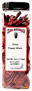 San Antonio Premium Hot Dried Whole Red Chili Peppers Chile Pods, 4-Ounce