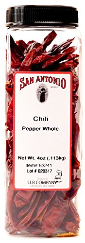(San Antonio Premium Hot Dried Whole Red Chili Peppers Chile Pods, 4-Ounce)