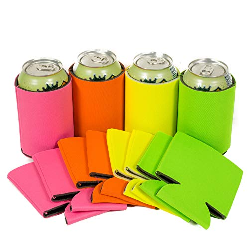 QualityPerfection 60 Bright Color Party Drink Blank Can Coolers(12,24,60 Bulk Pack) Blank Beer,Soda Coolies Sleeves | Soft,Insulated Coolers | 30 Colors | Perfect For DIY Projects,Holidays,Events