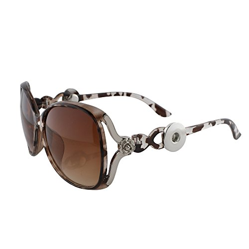 Snap Jewelry Brown Rose Accent Sunglasses Holds two 18-20mm by My Prime Gifts
