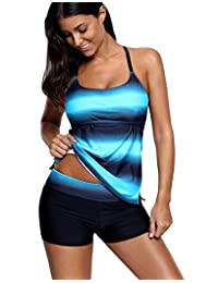 Crazycatz@Womens Loose Fit Tankini Sets Swimsuit With Boyshort