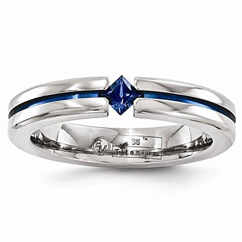 FB Jewels Solid Edward Mirell Titanium Sapphire & Blue Anodized 4mm Wedding Band Size 11