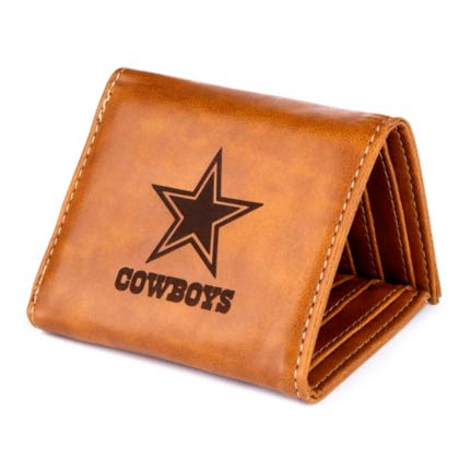 Rico Industries NFL Dallas Cowboys Laser Engraved Tri-Fold Wallet, Brown, 5.75 x 7-inches ()