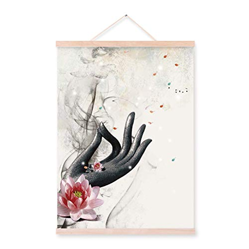 (Watercolor Chinese Buddha Fish Lotus Wooden Framed Posters Print Oriental Zen Wall Art Pictures Home Deco Canvas Painting Scroll,40x50cm Framed,Buddha-Hand)