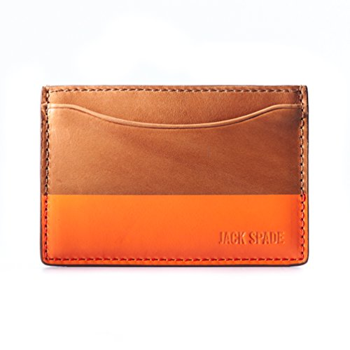 Jack Spade Mens Dipped Leather Credit Card Holder - 3.9 Inches, Brown/Orange