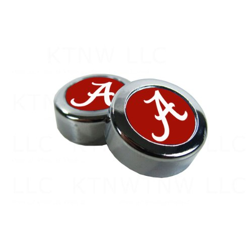 Two Officially Licensed NCAA License Plate Screw Caps - Alabama Crimson Tide