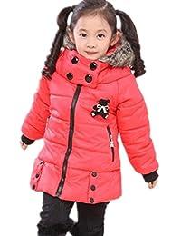 NEW Kids Rabbit Print Winter Warm Hooded Coat Children Outwear Girls Jacket 2-7y