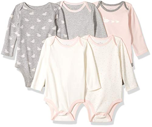 Moon and Back Baby Set of 5 Organic Long-Sleeve Bodysuits, Bunnies, 12 Months