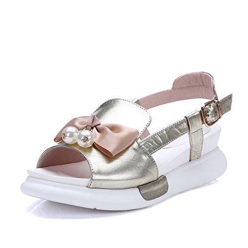 Amoonyfashion Kvinna Spänne Öppen Tå Kattunge Klackar Ko Läder Fasta Sandaler Guld