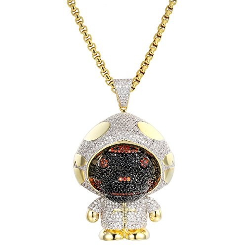 Custom Ape Pendant HipHop Gold Finish 925 Silver Black Red Simulated Diamond Chain by Master Of Bling