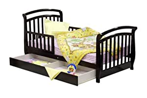 Dream On Me Deluxe Sleigh Toddler Bed with Storage Drawer - Espresso (Discontinued by Manufacturer)