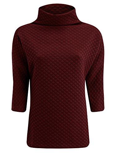 oodji Collection Mujer Jersey de Tejido Texturizado con Cuello Amplio Rojo (4900N)