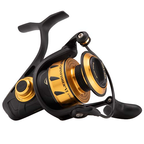 "Penn 1481261 Spinfisher VI Spinning Saltwater Reel, 3500 Reel Size, 6.2: 1 Gear Ratio, 37"" Retrieve Rate, 6 Bearings, Ambidextrous"