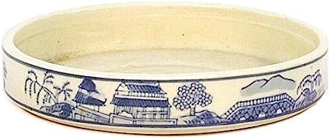 Crespi Bonsai V089/2Maceta para Bonsai, Decorado Azul y Blanco, 18x 18x 2.8cm