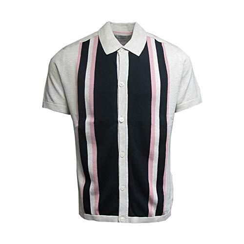 Clothes Mod 60s - Ben Sherman Mens Vintage 60s Mod Button Stripe Knit Polo Ecru/Pink 2XL