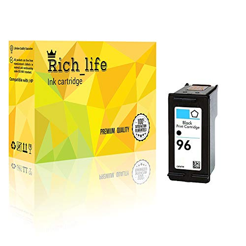 Rich_life Remanufactured Ink Cartridge Replacement for HP96 HP 96 Black C8767WN Inkjet Cartridges Compatible HP Printer PSC Designjet Deskjet OfficeJet Photosmart 1 Pack (Black)