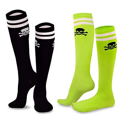 (Fun Socks - Skull Varsity Pirate 2-pair Pack Cotton Knee High Socks for Junior and Women (Sock size 9-11), Assorted)