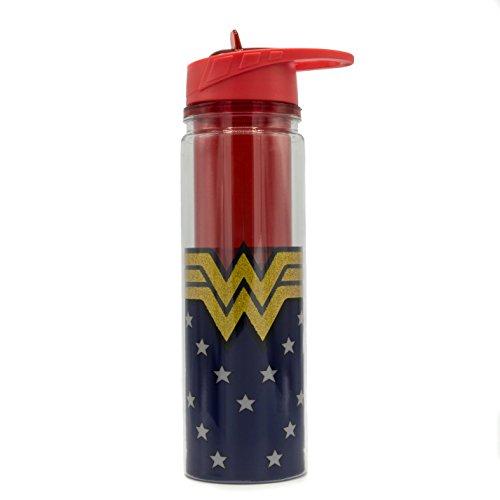 (DC Comics WW11218LG Wonder Woman Logo Glitter Double Walled Tritan Water Bottle, 18-Ounce, Multicolor)