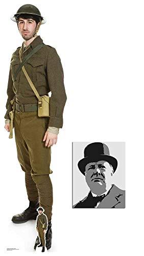 British World War 1 Soldier Lifesize and Mini Cardboard Cutout Fan Pack, 182cm x 46cm Includes 8x10 Star Photo