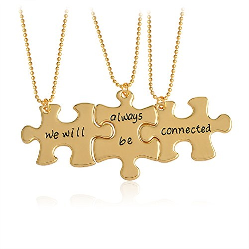 Meiligo Fashion 3 Pcs Best Friends Forever Gift Alloy We will always be connected Letter Puzzle Dog Tag Necklace Key Chain Square Matching Engraved Letter Necklace Set