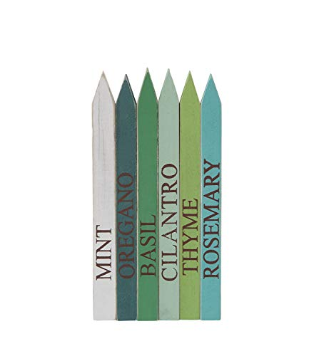 Creative Co-op Set of 6 Wood Herb Garden Markers, Multicolored