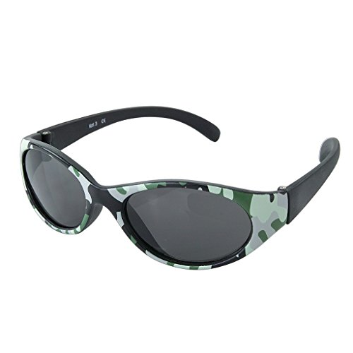 Time Concept Babies Fashion Sunglasses - Camo, Black - UV-Protected Summer Eyewear, Infants 0-3 Years
