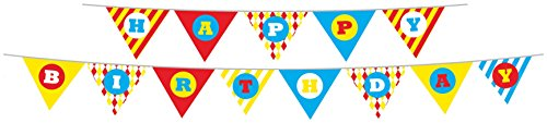 Party Partners Design Retro Big Top Circus Themed Happy Birthday Banner Set, Blue/Red (Vintage Circus Themed Centerpieces)