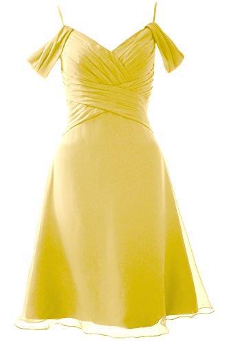 Party Off Elegant Gown Shoulder Bridesmaid Short Dress MACloth Wedding the Formal Canary fFxwqfn