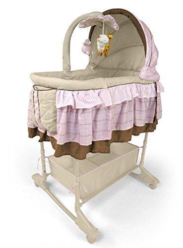 Best For Kids Wiege Stubenbett 4 in 1 Schaukelwiege Babybett mit Melodie, Vibration, Licht, Nachtlampe und Schaukel mit Fernbedienung in zwei Farben zur Auswahl. PRIMA (Rosa)