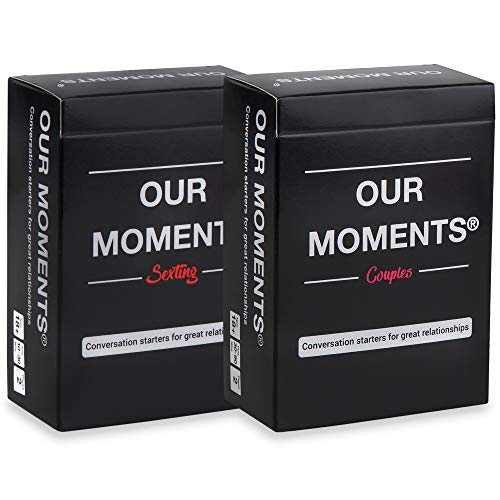OUR MOMENTS Love Bundle: 100 Thought Provoking Conversation Starters for Couples and 100 Messages to Text to Your Partner to Spice Up Your Relationship - (2 Decks: Couples + Texting)
