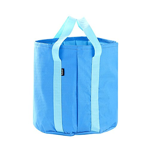 Collapsible Bucket 25L Big Capacity Foldable Pail Portable Water Container Oxford - Lightweight Compact Waterproof - Car Washing Fishing Camping Picnic Hiking Outdoor Travel Beach (blue) ()