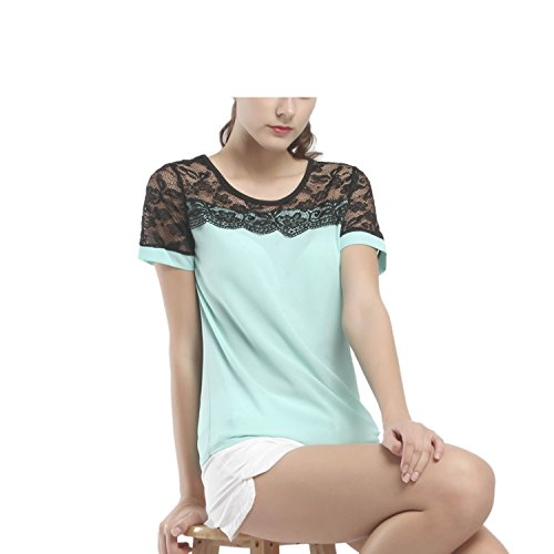 Mary Green Chemise - Women Blouses Summer Lace Chiffon Blouse Casual Feminina Tops Chemise Shirts