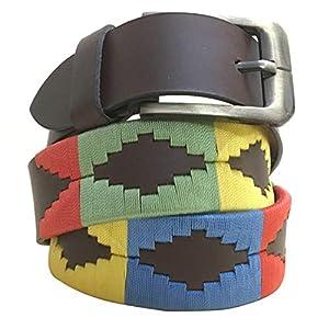 Carlos Diaz Cinturón de polo argentino de cuero marrón bordado para hombres y mujeres unisex   DeHippies.com