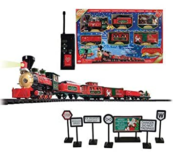 amazoncom sterling north pole express christmas holiday train set34 piece toys games - North Pole Junction Christmas Train