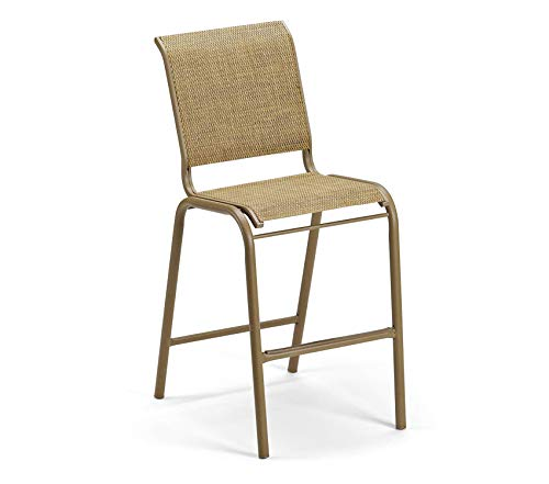 - Wood & Style Patio Outdoor Garden Premium Furniture Reliance Contract Sling Collection Bar Height Stacking Aluminum Armless Chair, Bark, Textured Black Finish